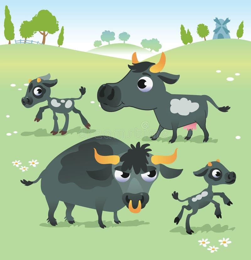 Landbouwbedrijfdieren: koereeks vector illustratie