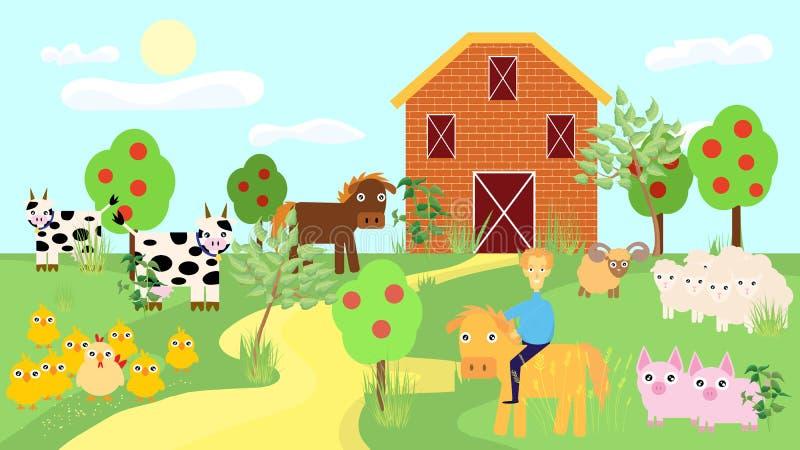 Landbouwbedrijfdieren met landschapsvector vector illustratie