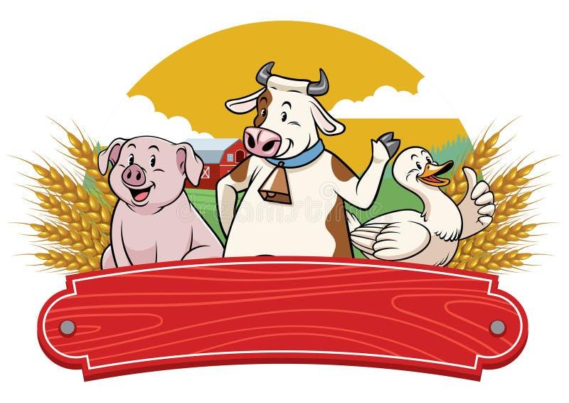 Landbouwbedrijfdieren met oude houten teken lege ruimte stock illustratie