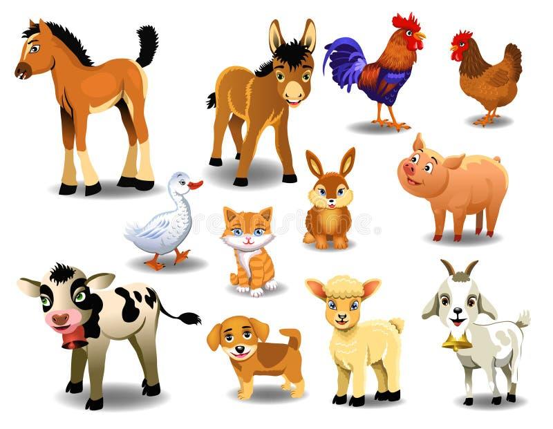 Landbouwbedrijfdieren op een witte achtergrond royalty-vrije illustratie