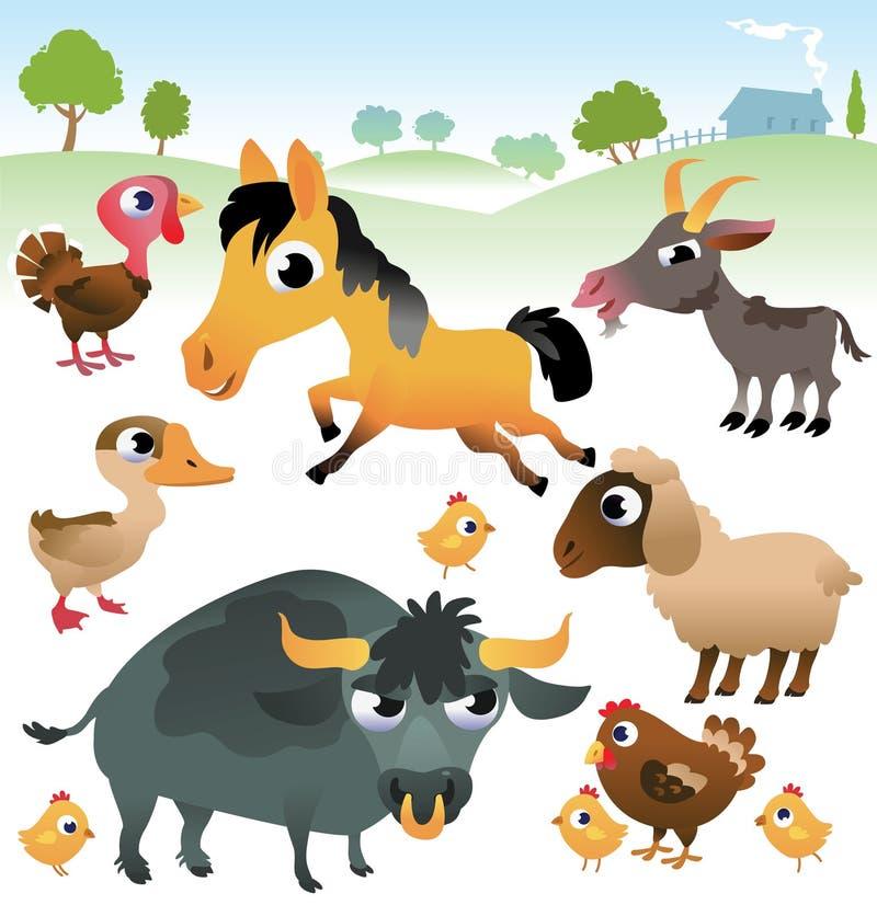 Landbouwbedrijfdieren op witte achtergrond worden geplaatst die stock illustratie
