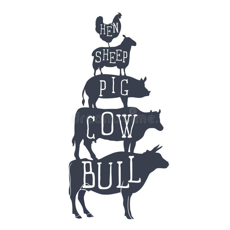Landbouwbedrijfdieren, pictogrammen silhouet van kip, schapen, koe en stier Vector stock illustratie
