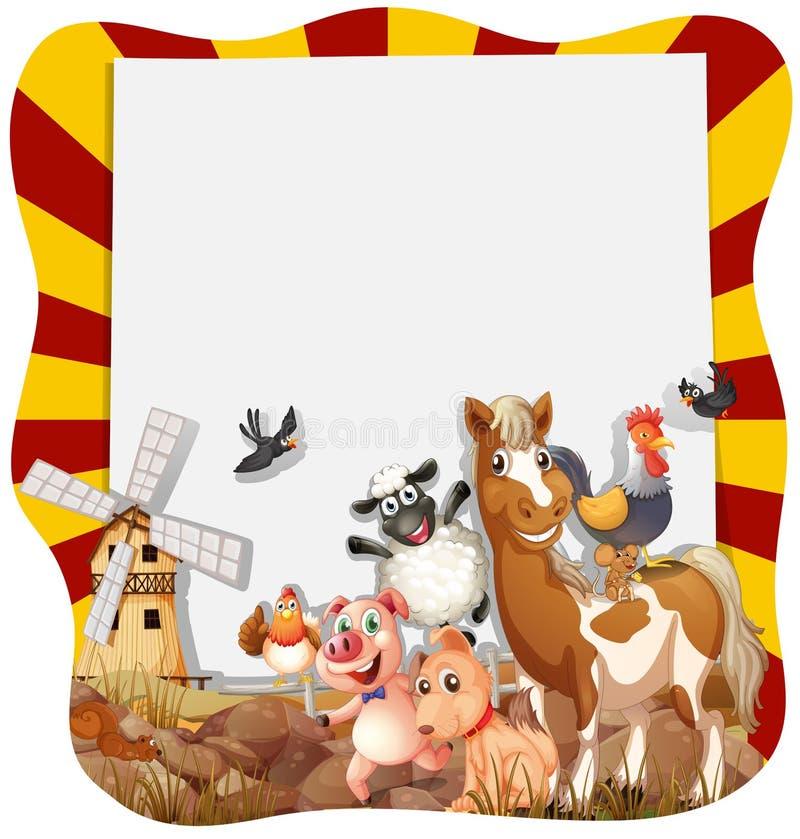 Landbouwbedrijfdieren rond het kader stock illustratie