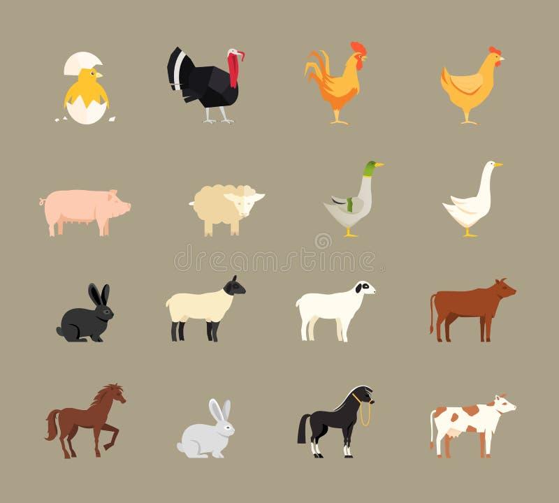 Landbouwbedrijfdieren in vlakke stijl worden geplaatst die royalty-vrije illustratie