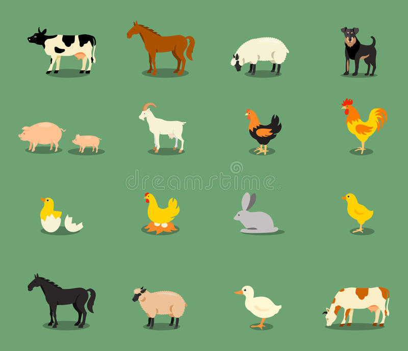 Landbouwbedrijfdieren in vlakke vectorstijl worden geplaatst die stock foto's