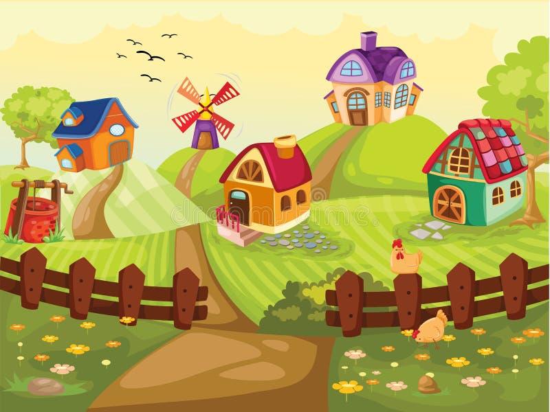Landbouwbedrijfdorp stock illustratie