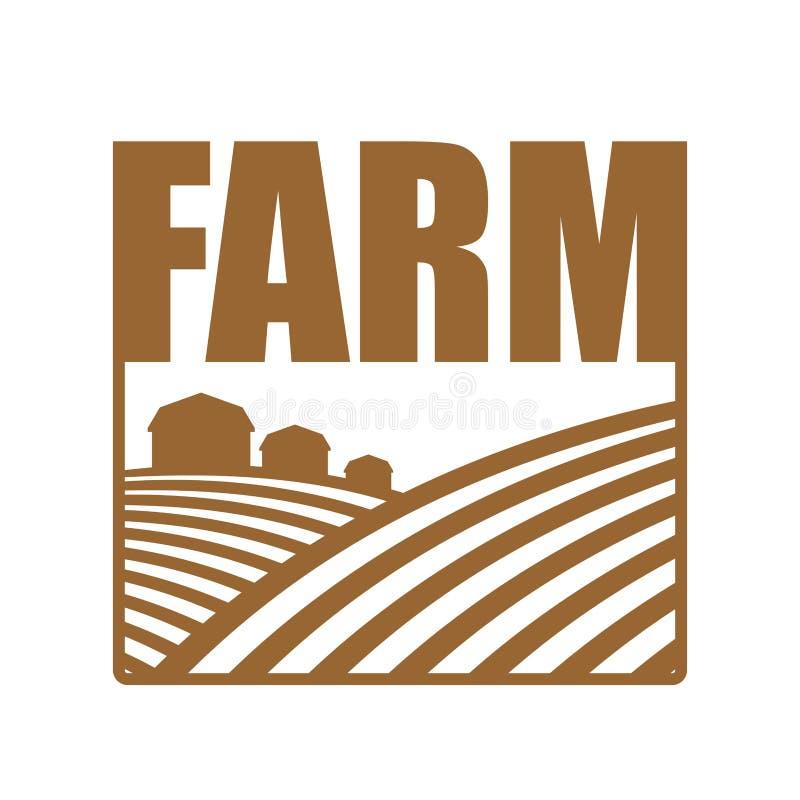 Landbouwbedrijfembleem Landbouwteken Akkerland en landbouwgronden stock illustratie