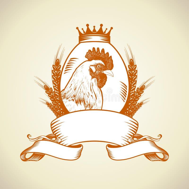 Landbouwbedrijfembleem met kip, ei en tarwe stock illustratie