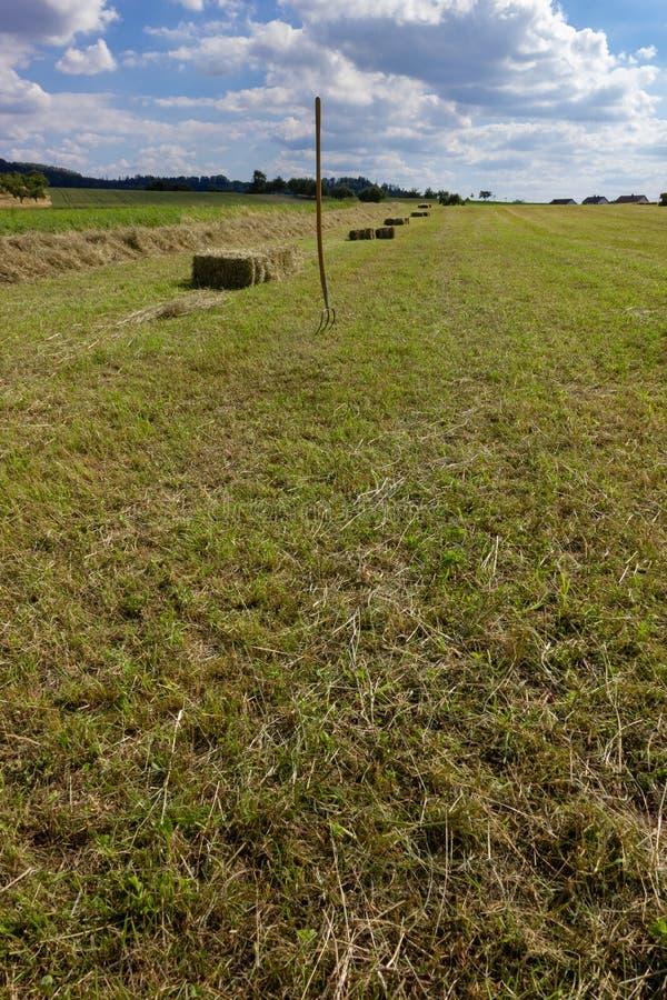 landbouwbedrijfgebied met hey vork en machine onder blauwe hemel stock afbeeldingen