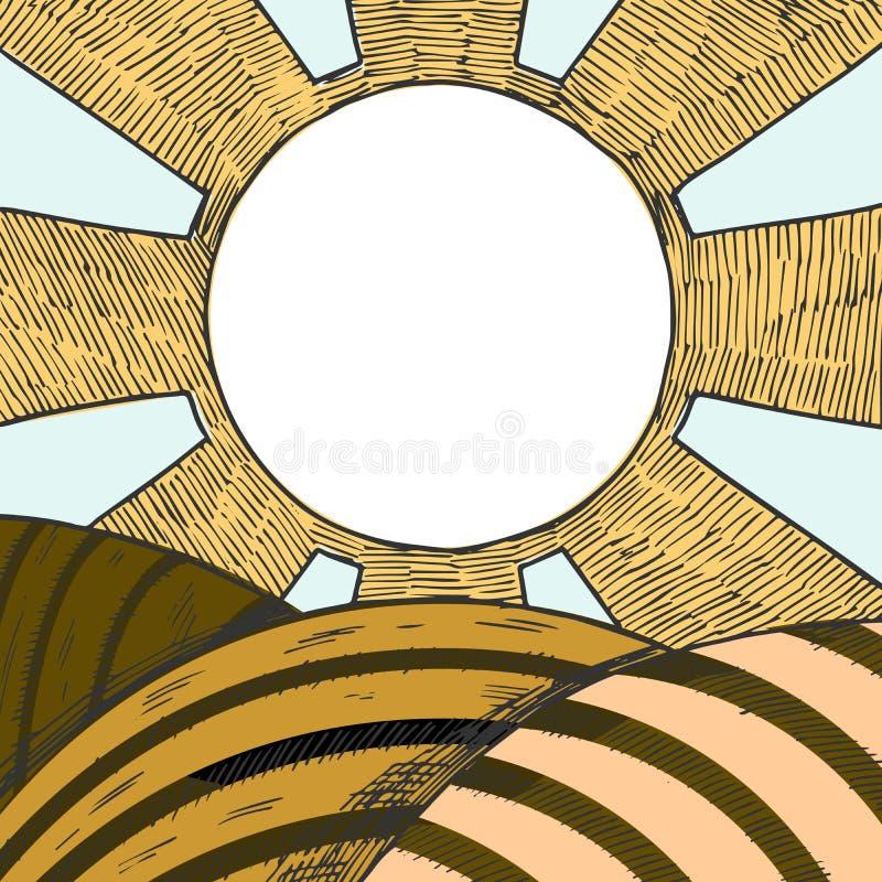 Landbouwbedrijfgebied met zon in de hemel royalty-vrije illustratie