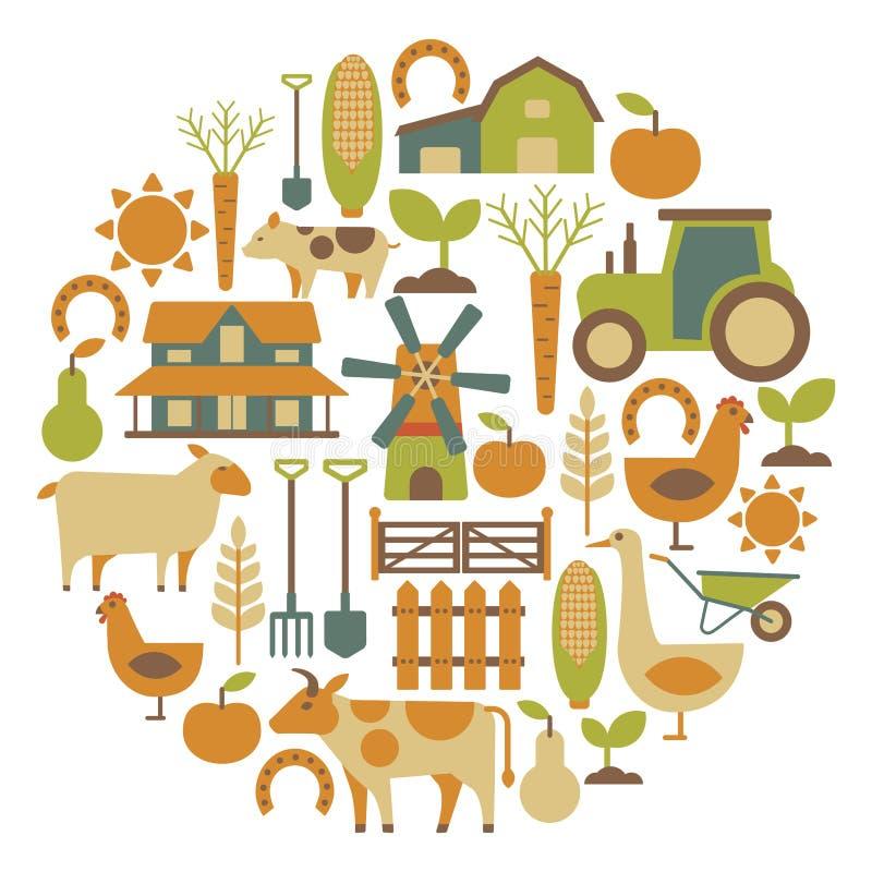 Landbouwbedrijfkaart stock illustratie