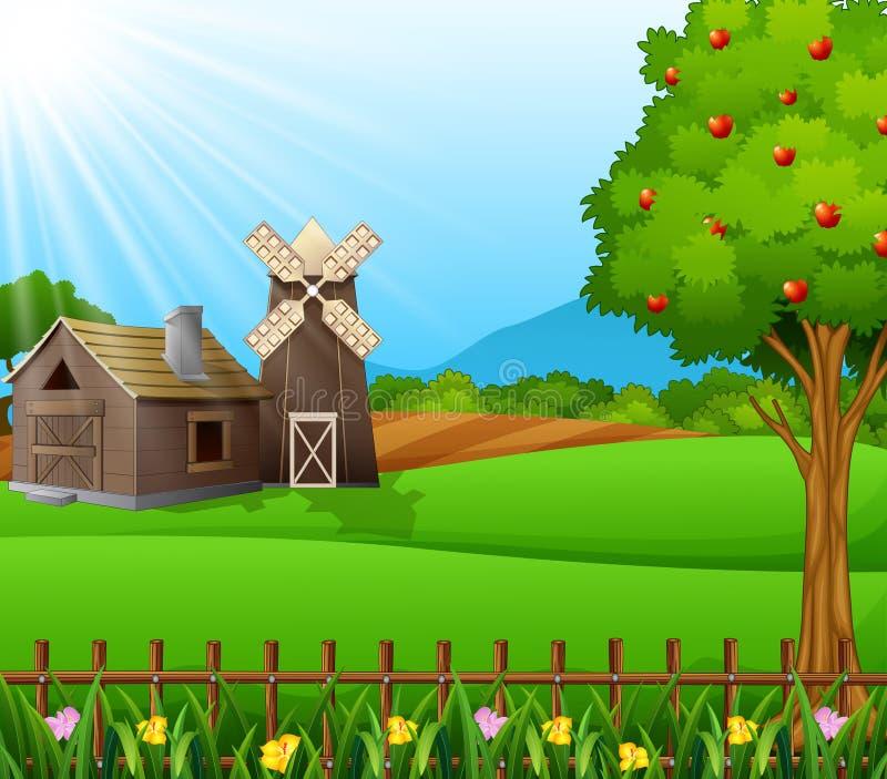 Landbouwbedrijflandschap met loods en bruine windmolen op daglicht vector illustratie