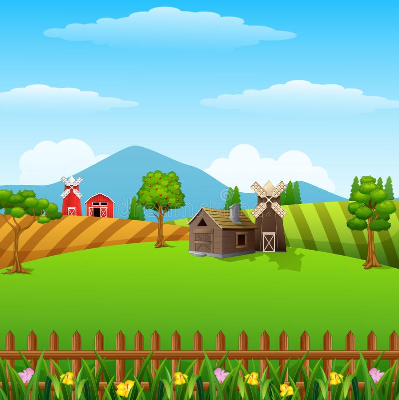 Landbouwbedrijflandschap met loods en bruine windmolen op daglicht stock illustratie