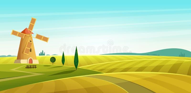 Landbouwbedrijflandschap, windmolen op gebied, Landelijk platteland Vectorillustratie van de beeldverhaal de moderne stijl royalty-vrije illustratie