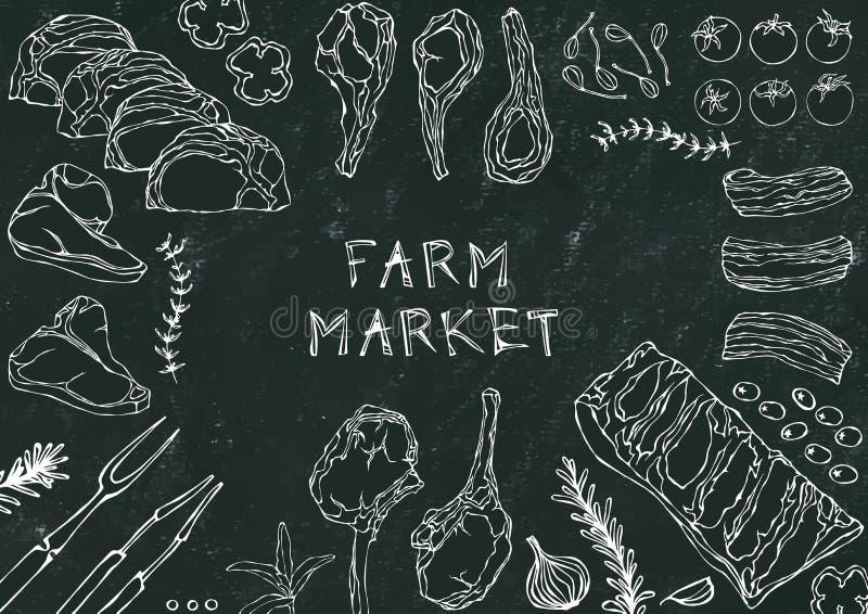 Landbouwbedrijfmarkt Vleesbesnoeiingen - Rundvlees, Varkensvlees, Lam, Lapje vlees, Achterdeel Zonder botten, Ribbenbraadstuk, Le vector illustratie
