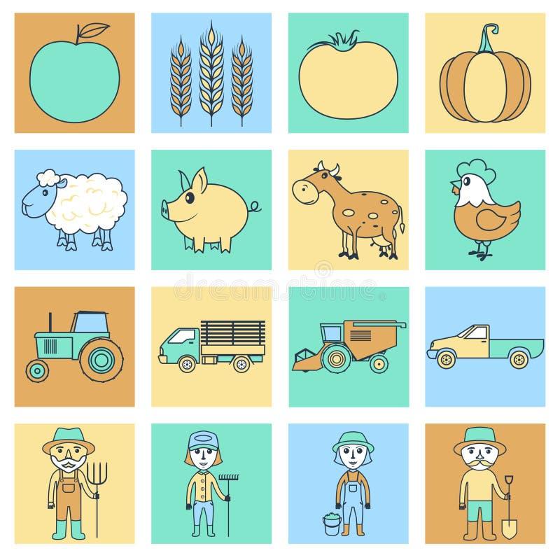 Landbouwbedrijfpictogrammen geplaatst vlakke lijn royalty-vrije illustratie