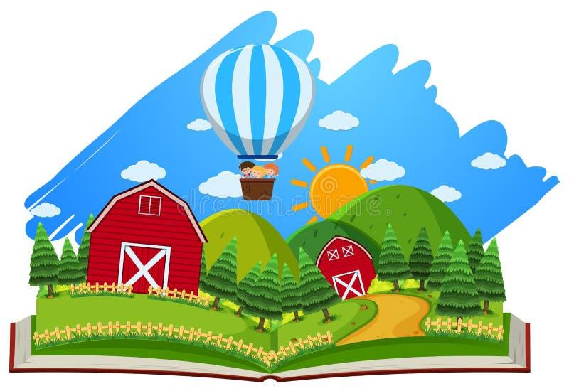 Landbouwbedrijfscène met schuren en ballon in het boek vector illustratie