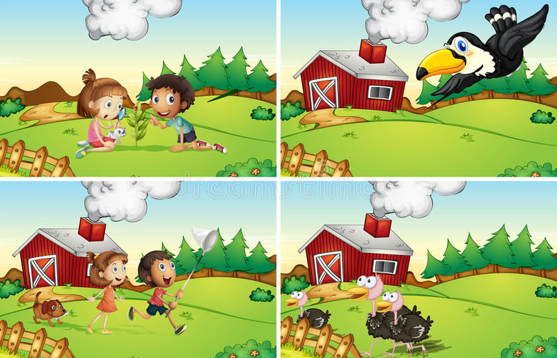 Landbouwbedrijfscènes royalty-vrije illustratie