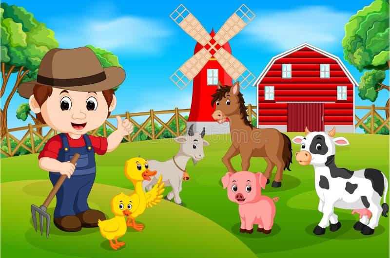 Landbouwbedrijfscènes met vele dieren en landbouwers stock illustratie
