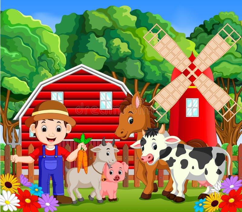 Landbouwbedrijfscènes met vele dieren en landbouwers royalty-vrije illustratie