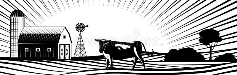 Landbouwbedrijfschuur met windmolen en koe op plattelandslandschap met heuvels en gebieden royalty-vrije illustratie