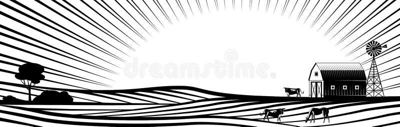 Landbouwbedrijfschuur met windmolen en landelijke dieren op plattelandslandschap met heuvels en gebieden royalty-vrije illustratie