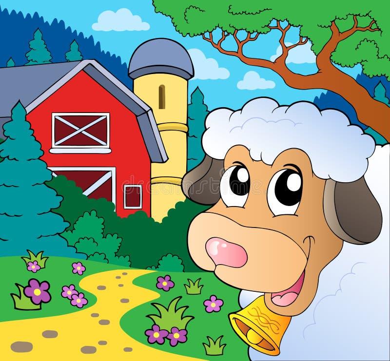 Landbouwbedrijfthema met het sluimeren van schapen vector illustratie