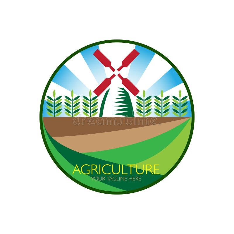 Landbouwembleem met windmolen stock illustratie
