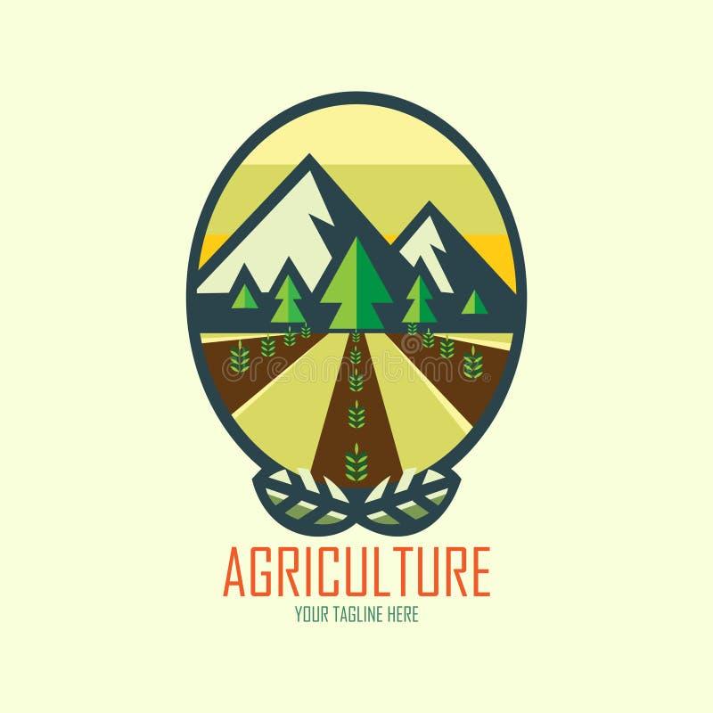 Landbouwembleem onder berg vector illustratie