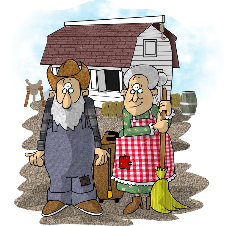 Landbouwer in dell stock illustratie