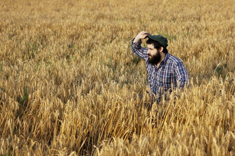 Landbouwer die de afstand bekijken terwijl het aanpassen van zijn hoed royalty-vrije stock foto