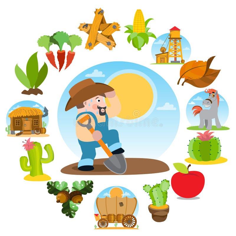Landbouwer die de grond graven Landbouwzaken Reeks kleurenillustraties op het thema van de landbouw vector illustratie