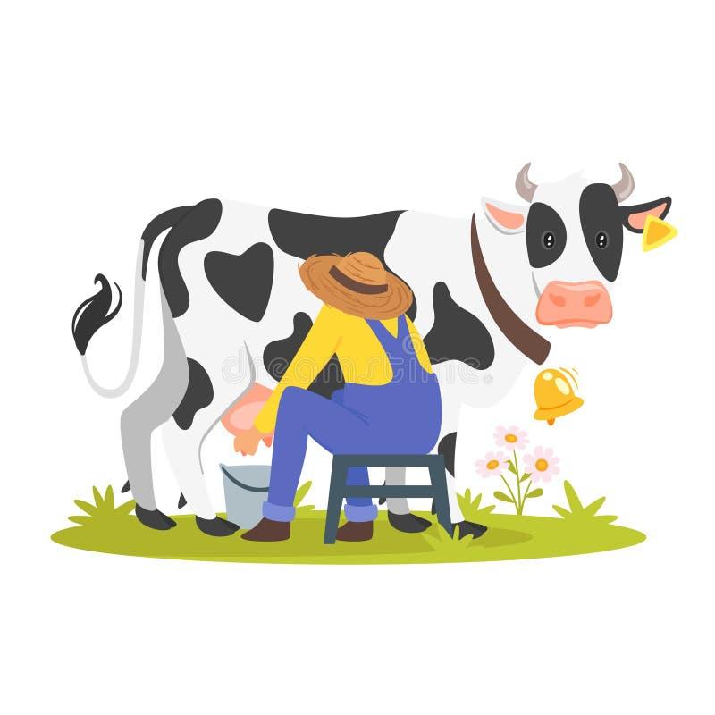 Landbouwer die een koe melken vector illustratie