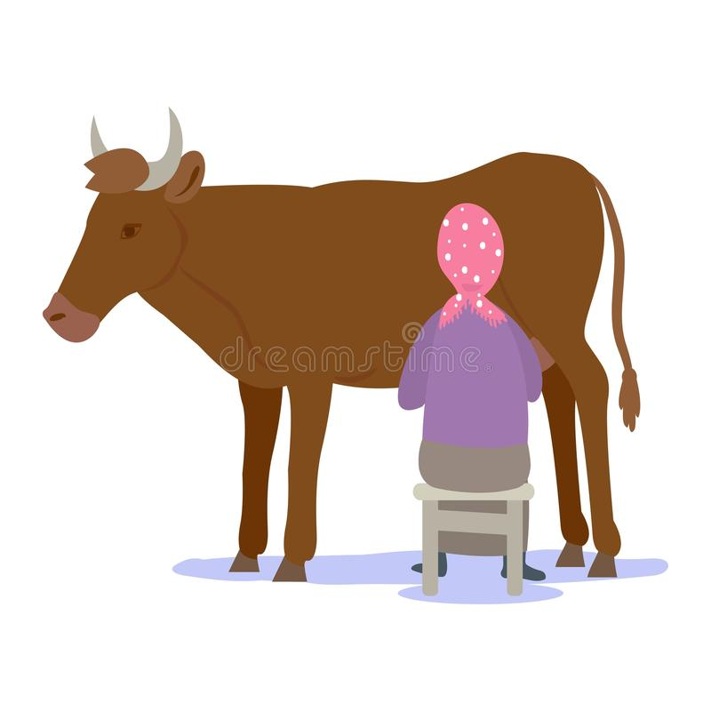 Landbouwer die een koe melken Vector illustratie die op witte achtergrond wordt geïsoleerdd royalty-vrije illustratie