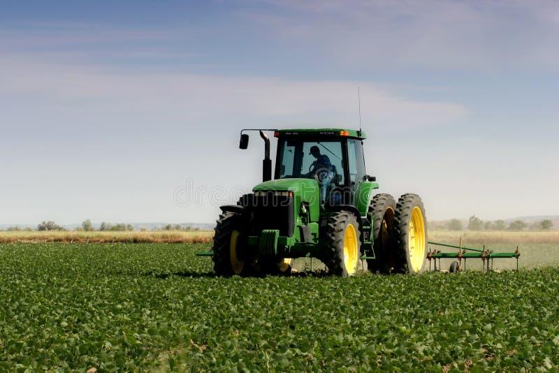 Landbouwer die het gebied ploegt royalty-vrije stock fotografie