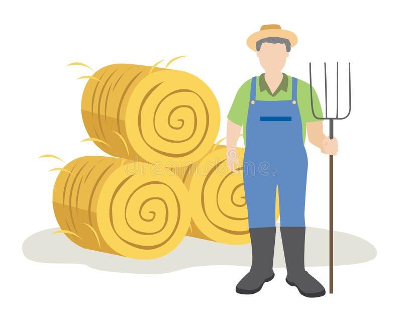 Landbouwer die zich met hooivork dichtbij hooibalen bevinden vector illustratie