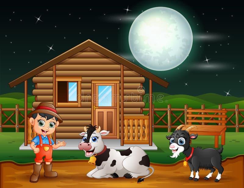 Landbouwer en landbouwbedrijfdier in het boerenerf bij nacht royalty-vrije illustratie