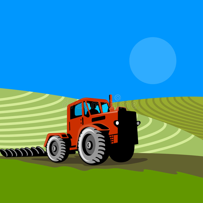 Landbouwer en tractor royalty-vrije illustratie