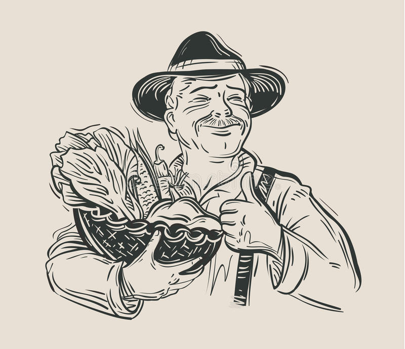 Landbouwer en verse groenten schets Vector royalty-vrije illustratie