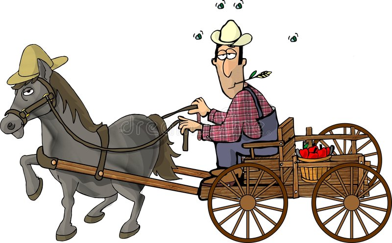 Landbouwer en zijn paard getrokken wagen vector illustratie
