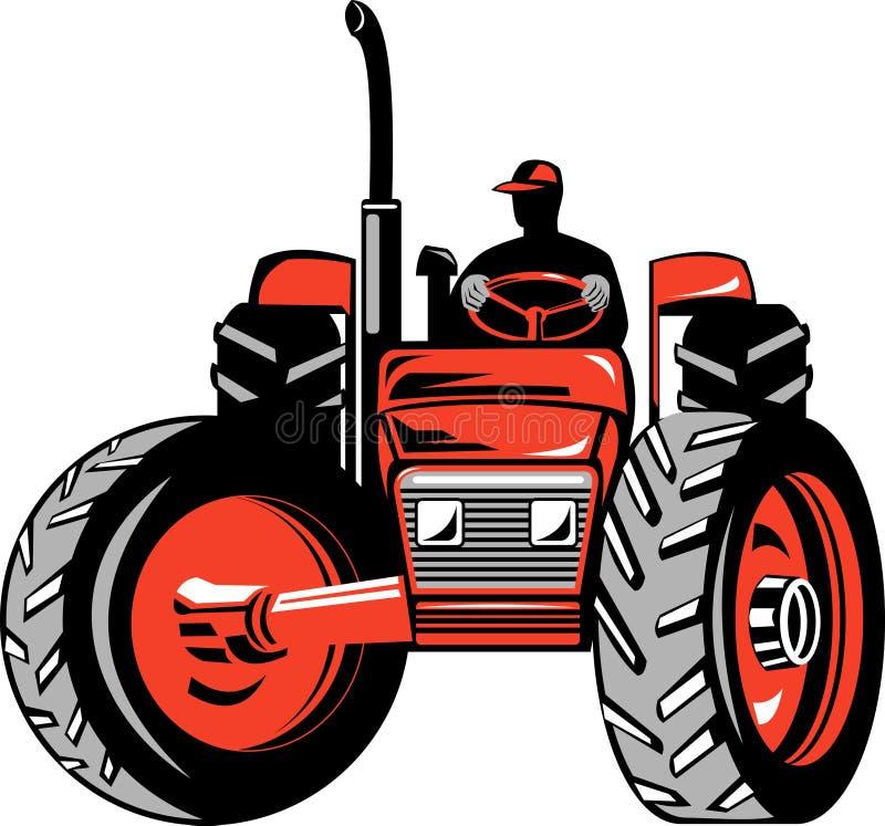 Landbouwer en zijn tractor stock illustratie