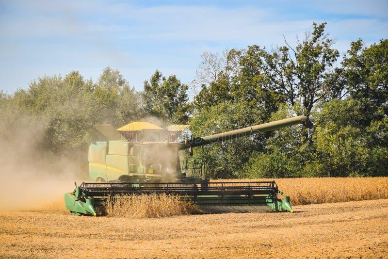 Landbouwer gebruiken combineert om sojabonen te oogsten royalty-vrije stock fotografie