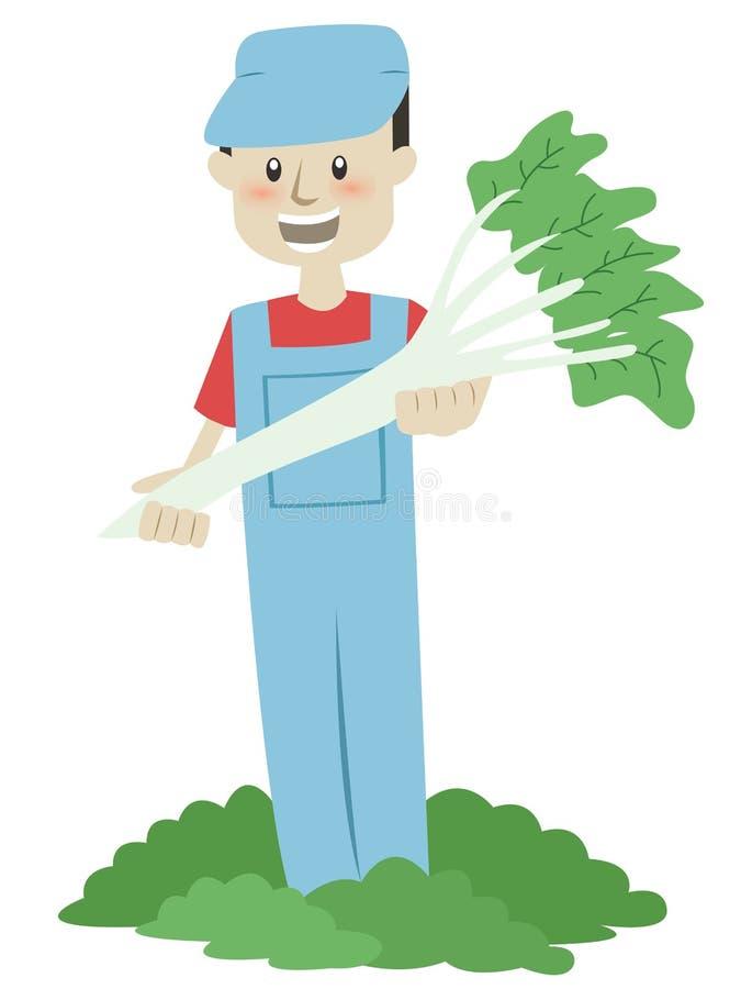 Landbouwer Harvesting Vegetables Cartoon royalty-vrije illustratie