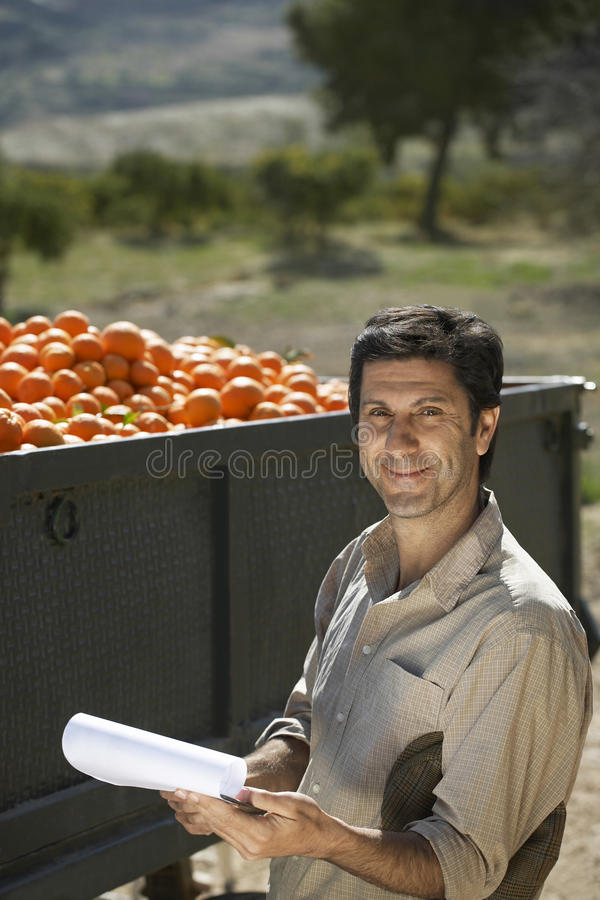 Landbouwer Holding Clipboard While die zich door Aanhangwagen van Sinaasappelen bevinden stock foto's