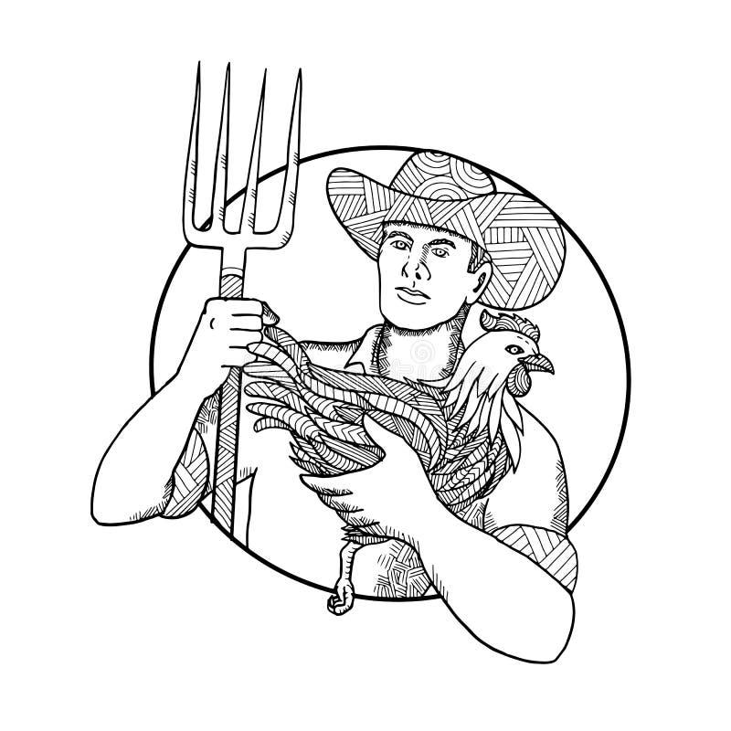 Landbouwer Holding Hen Pitchfork Zentagle stock illustratie