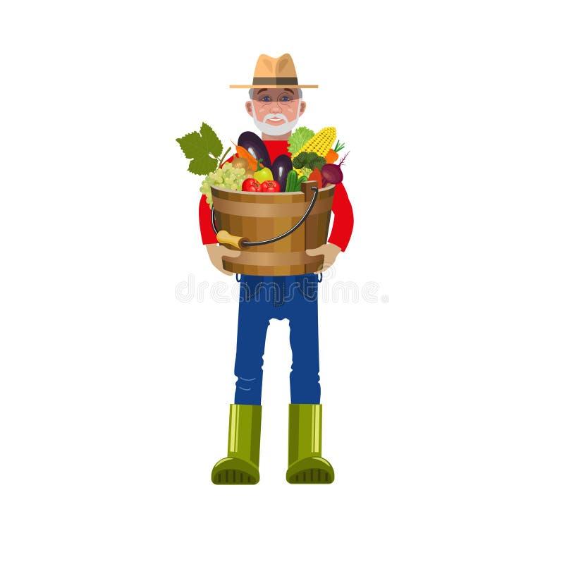 Landbouwer met groenten stock illustratie