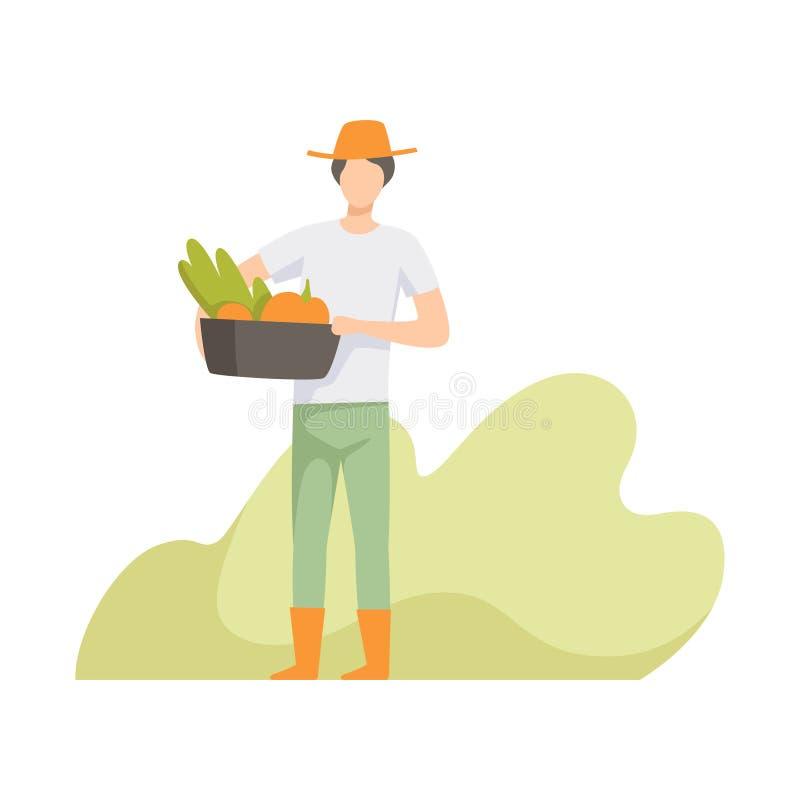Landbouwer oogsten, mensen die in de tuin, arbeider werken die landbouwproducten vectorillustratie kweken stock illustratie