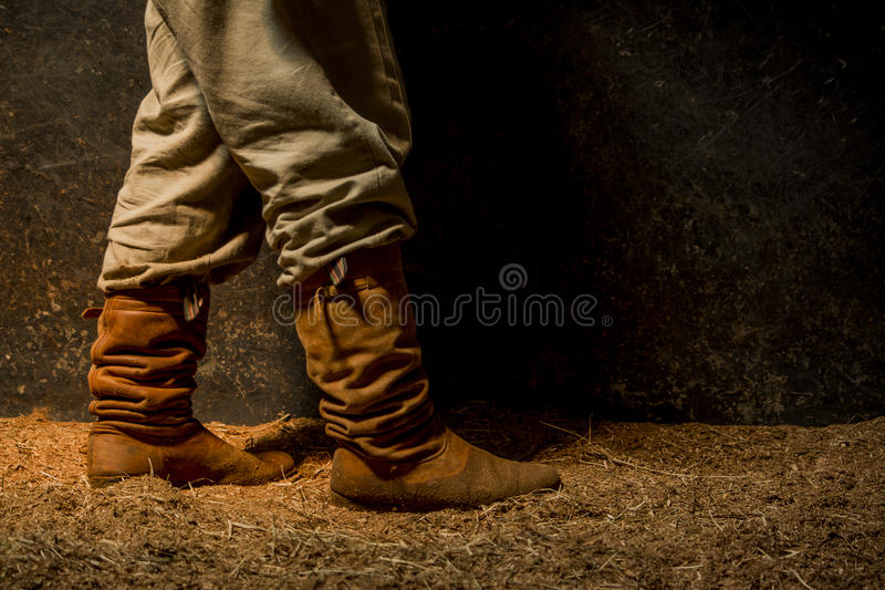Landbouwer op Stal stock afbeelding