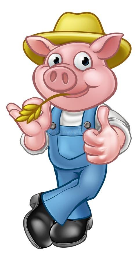 Landbouwer Pig Cartoon Character royalty-vrije illustratie