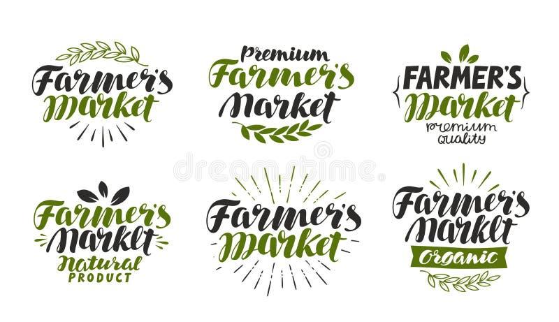 Landbouwers` s markt, etiket Landbouwbedrijf, landbouw, natuurlijk of biologisch productsymbool Het van letters voorzien, kalligr royalty-vrije illustratie
